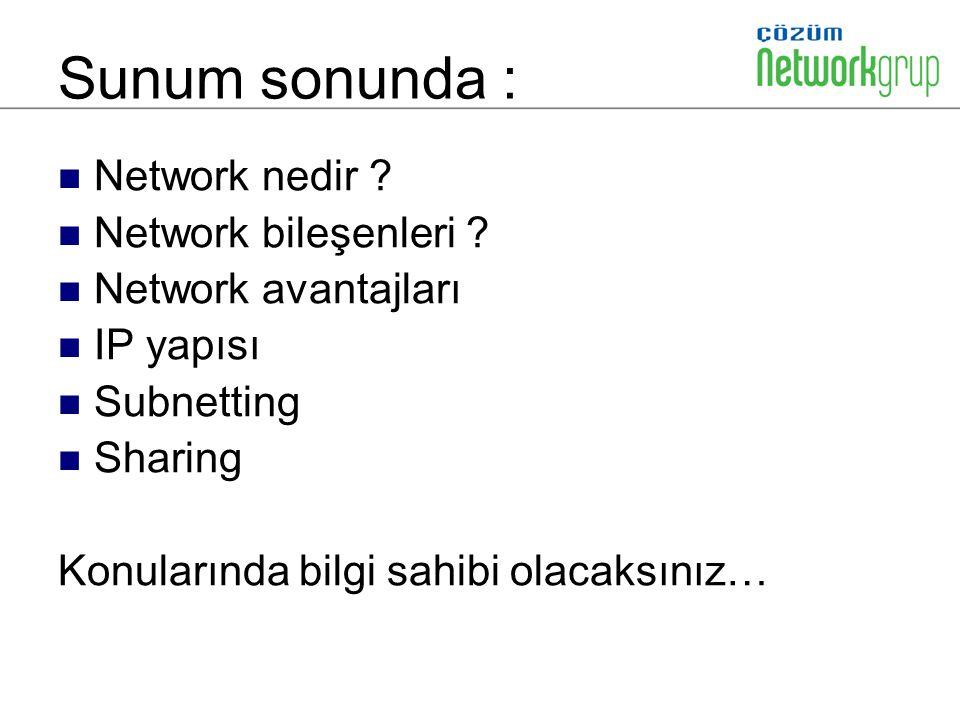 Sunum sonunda : Network nedir Network bileşenleri