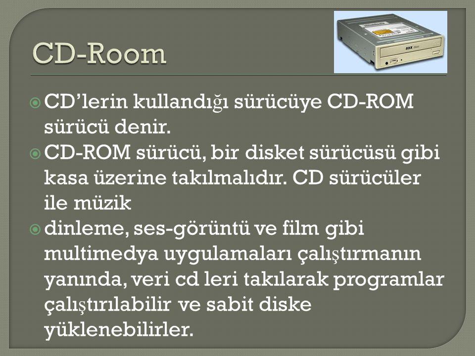 CD-Room CD'lerin kullandığı sürücüye CD-ROM sürücü denir.