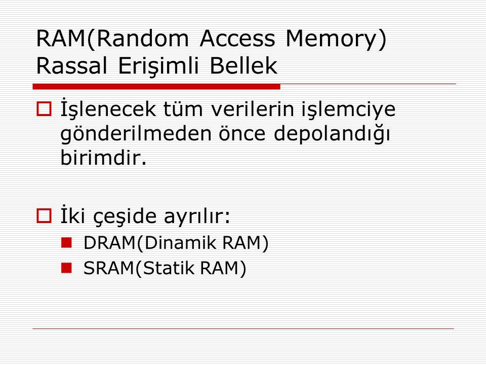 RAM(Random Access Memory) Rassal Erişimli Bellek