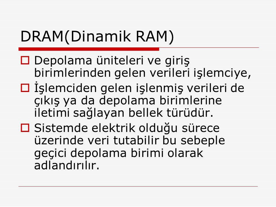 DRAM(Dinamik RAM) Depolama üniteleri ve giriş birimlerinden gelen verileri işlemciye,