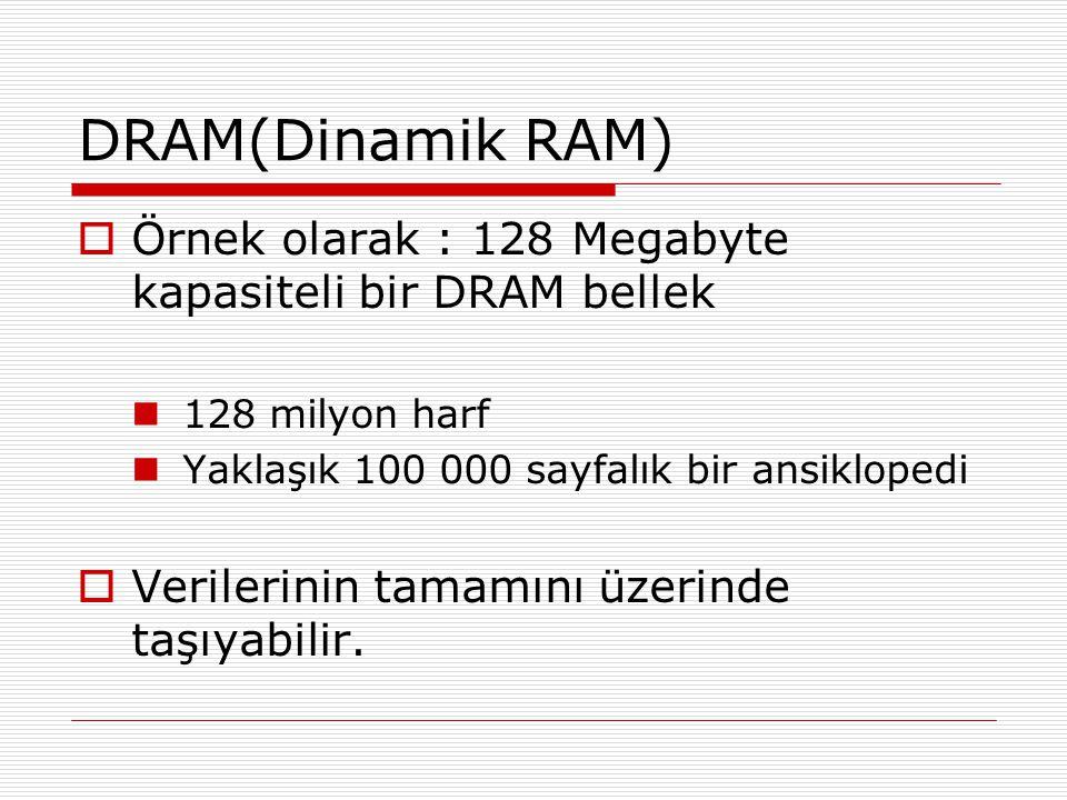 DRAM(Dinamik RAM) Örnek olarak : 128 Megabyte kapasiteli bir DRAM bellek. 128 milyon harf. Yaklaşık 100 000 sayfalık bir ansiklopedi.