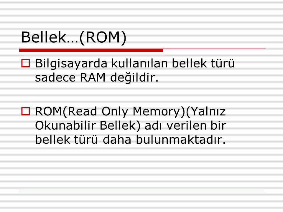 Bellek…(ROM) Bilgisayarda kullanılan bellek türü sadece RAM değildir.