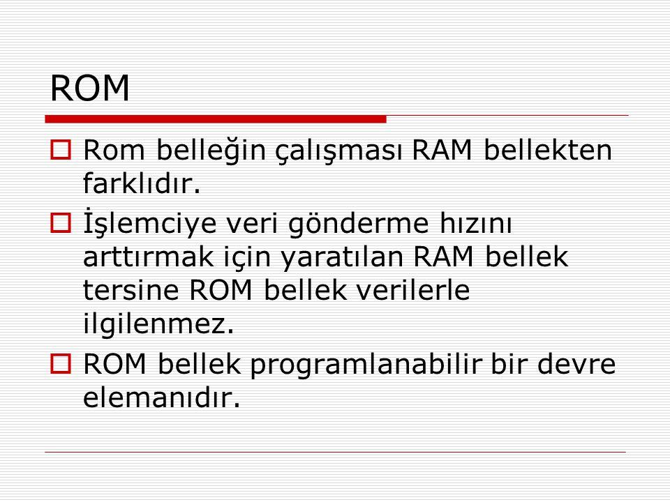 ROM Rom belleğin çalışması RAM bellekten farklıdır.