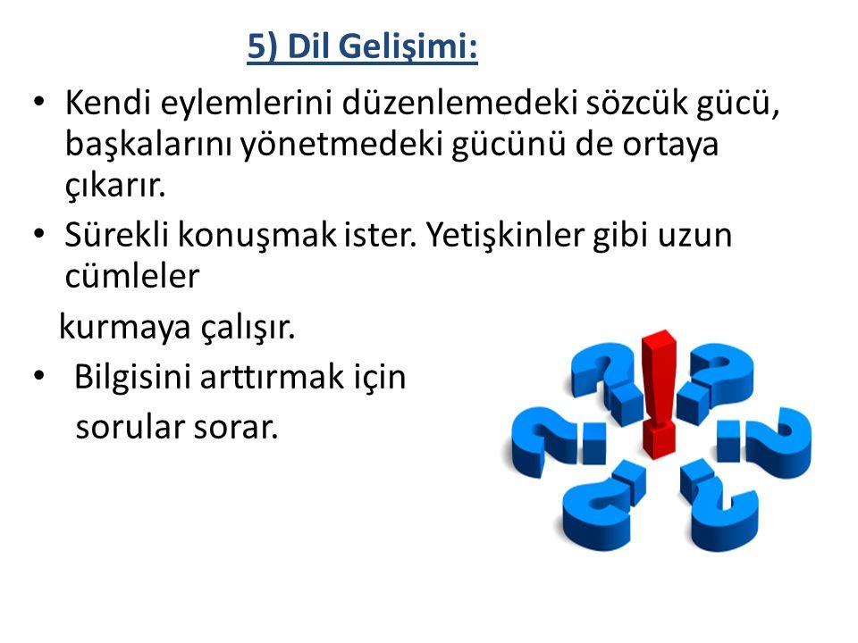 5) Dil Gelişimi: Kendi eylemlerini düzenlemedeki sözcük gücü, başkalarını yönetmedeki gücünü de ortaya çıkarır.
