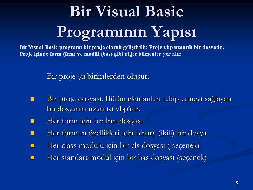 Bir Visual Basic Programının Yapısı