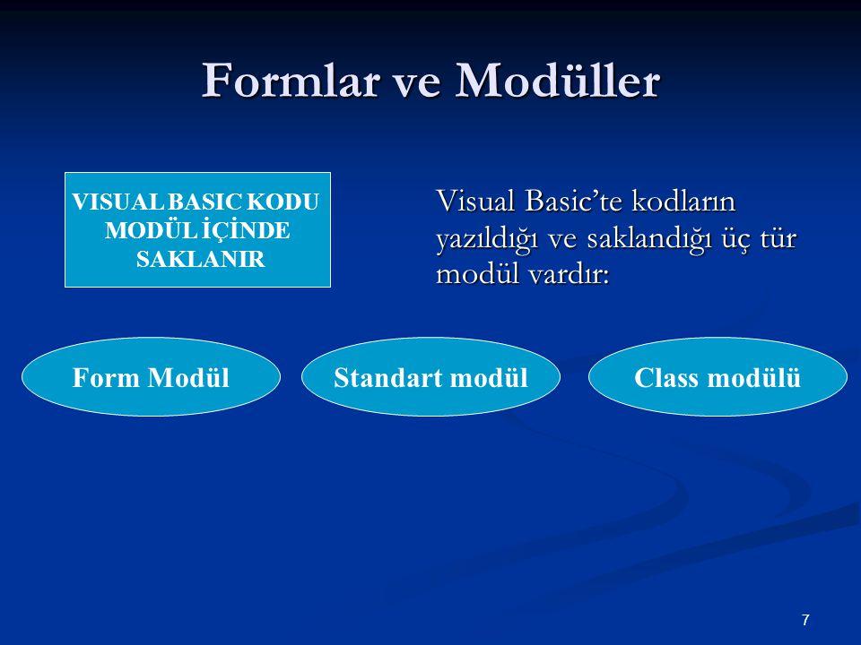 Formlar ve Modüller VISUAL BASIC KODU. MODÜL İÇİNDE. SAKLANIR. Visual Basic'te kodların yazıldığı ve saklandığı üç tür modül vardır: