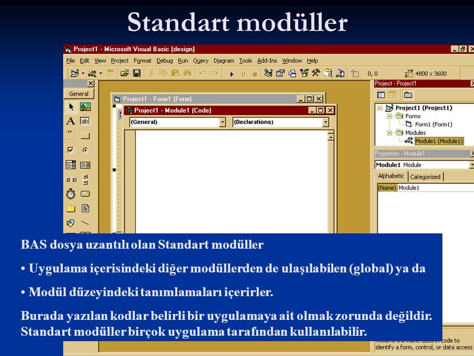 Standart modüller BAS dosya uzantılı olan Standart modüller