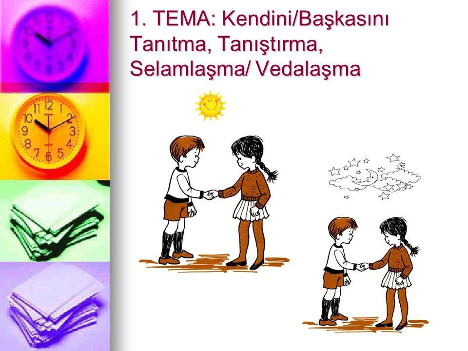 1. TEMA: Kendini/Başkasını Tanıtma, Tanıştırma, Selamlaşma/ Vedalaşma