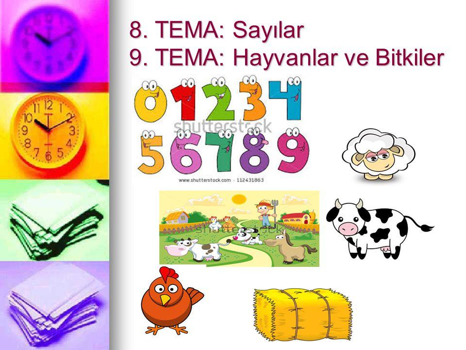 8. TEMA: Sayılar 9. TEMA: Hayvanlar ve Bitkiler