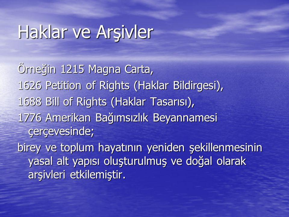 Haklar ve Arşivler Örneğin 1215 Magna Carta,