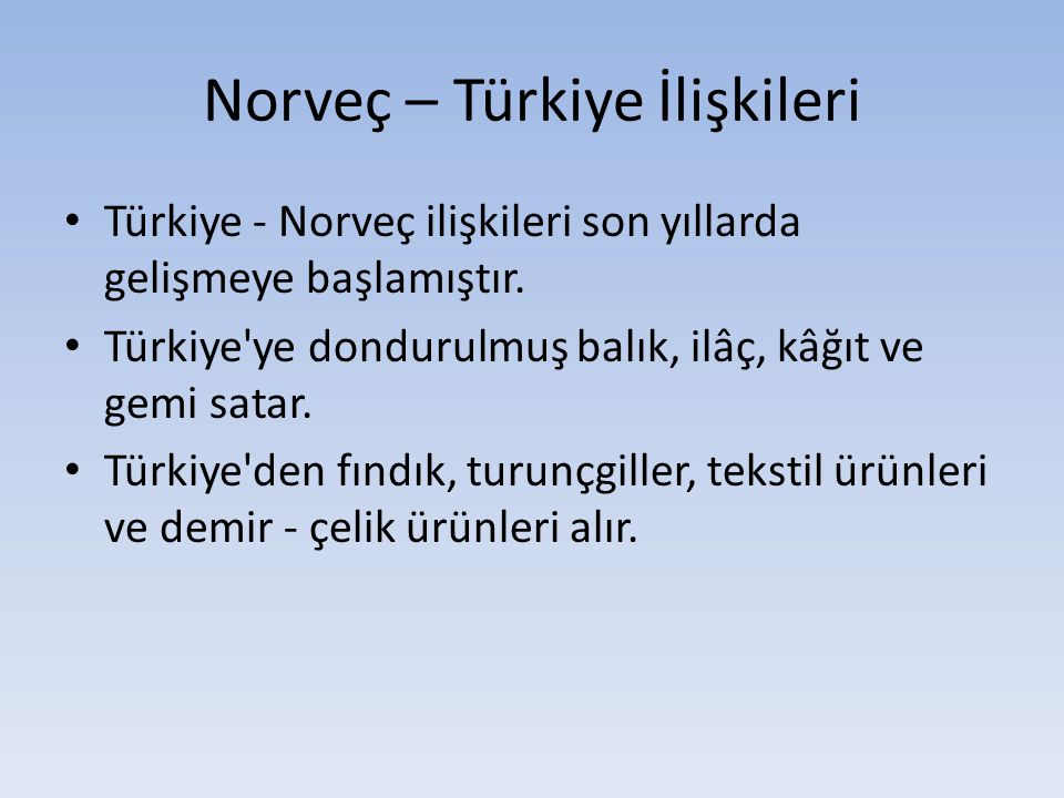 Norveç – Türkiye İlişkileri