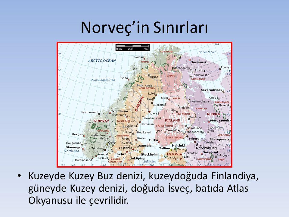 Norveç'in Sınırları Kuzeyde Kuzey Buz denizi, kuzeydoğuda Finlandiya, güneyde Kuzey denizi, doğuda İsveç, batıda Atlas Okyanusu ile çevrilidir.