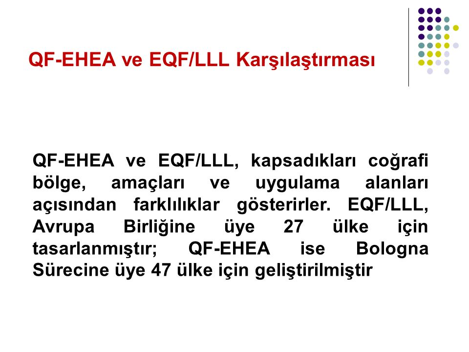 QF-EHEA ve EQF/LLL Karşılaştırması