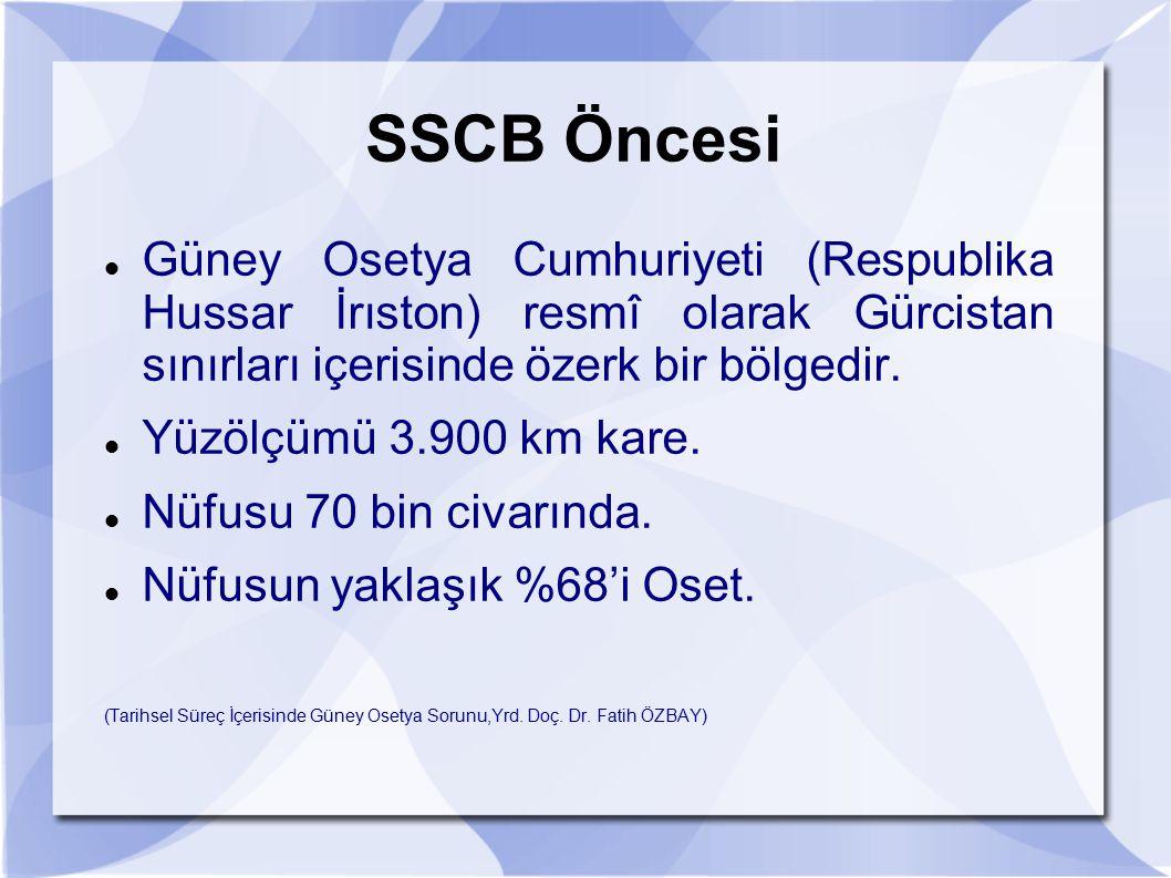 SSCB Öncesi Güney Osetya Cumhuriyeti (Respublika Hussar İrıston) resmî olarak Gürcistan sınırları içerisinde özerk bir bölgedir.
