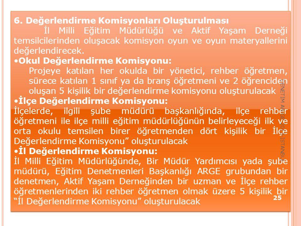 6. Değerlendirme Komisyonları Oluşturulması