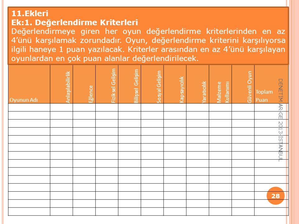 Ek:1. Değerlendirme Kriterleri