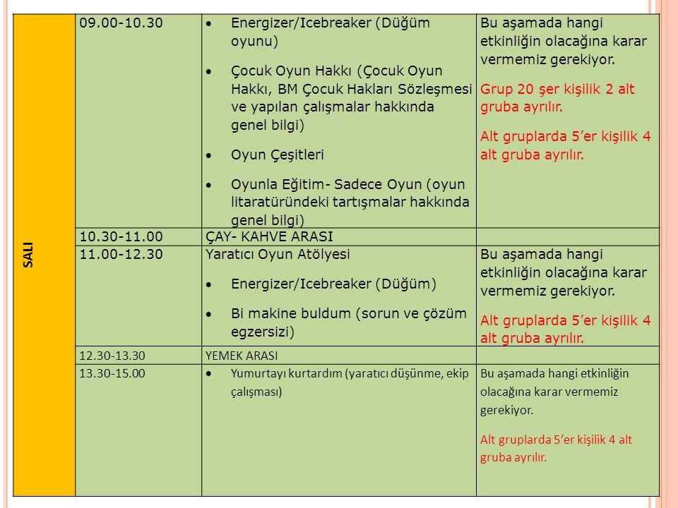 SALI 09.00-10.30 Energizer/Icebreaker (Düğüm oyunu)