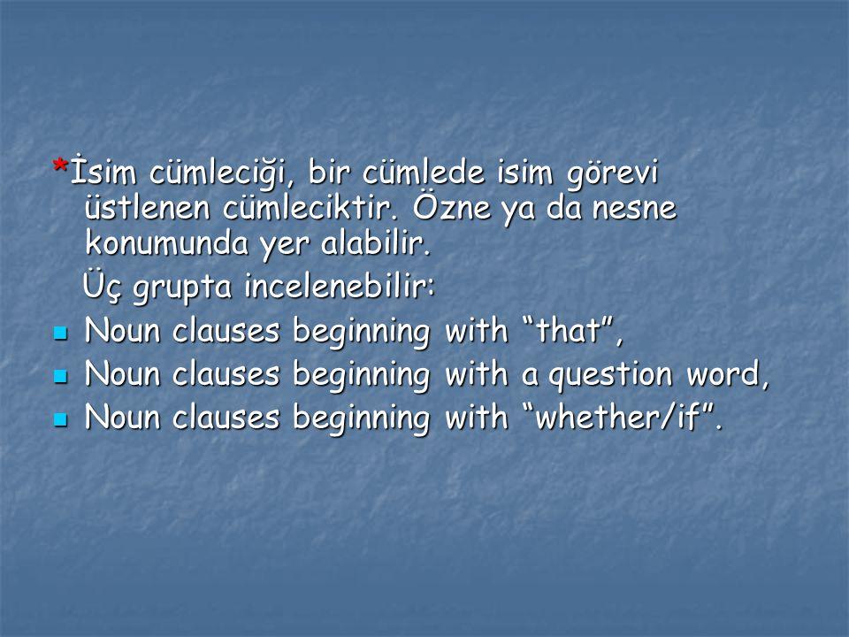 İsim cümleciği, bir cümlede isim görevi üstlenen cümleciktir