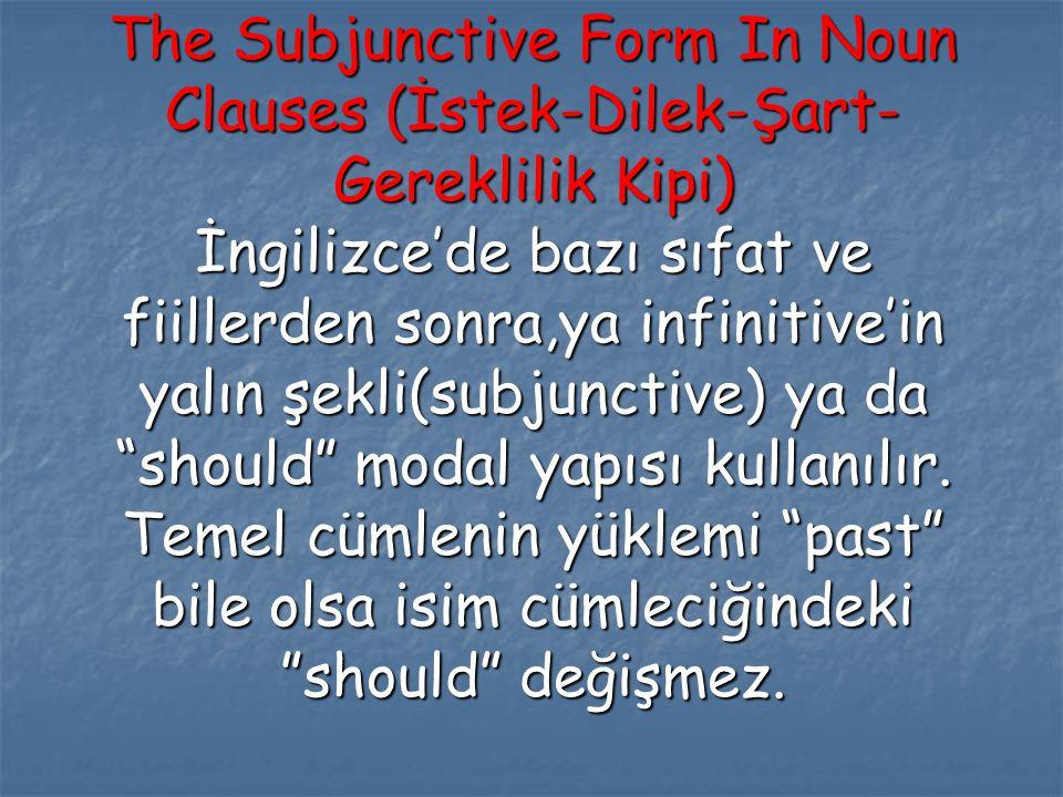 The Subjunctive Form In Noun Clauses (İstek-Dilek-Şart-Gereklilik Kipi) İngilizce'de bazı sıfat ve fiillerden sonra,ya infinitive'in yalın şekli(subjunctive) ya da should modal yapısı kullanılır.