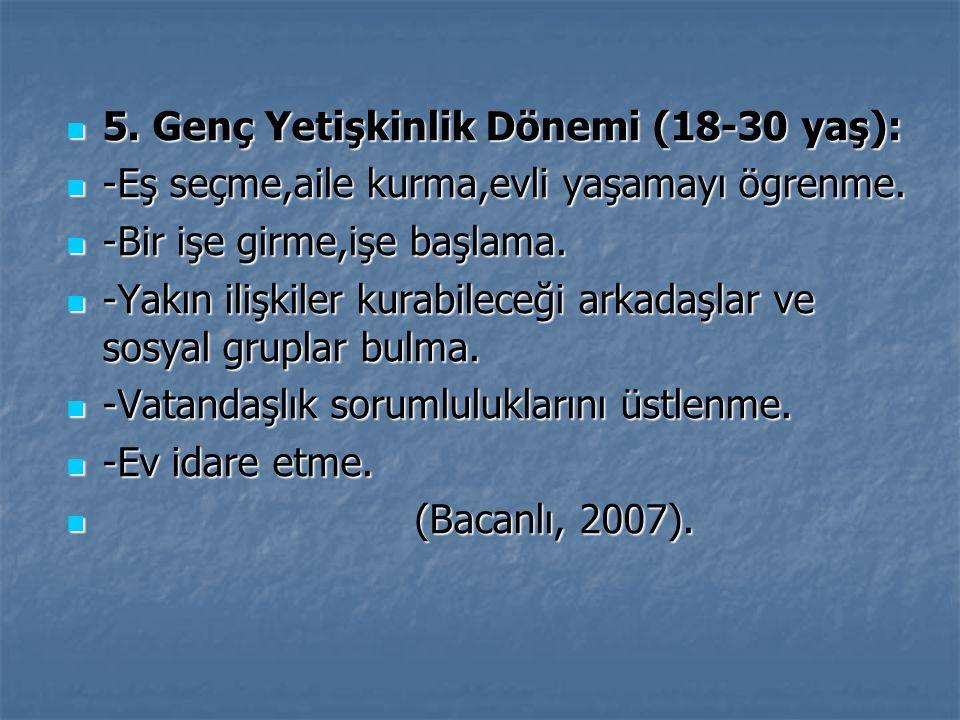 5. Genç Yetişkinlik Dönemi (18-30 yaş):