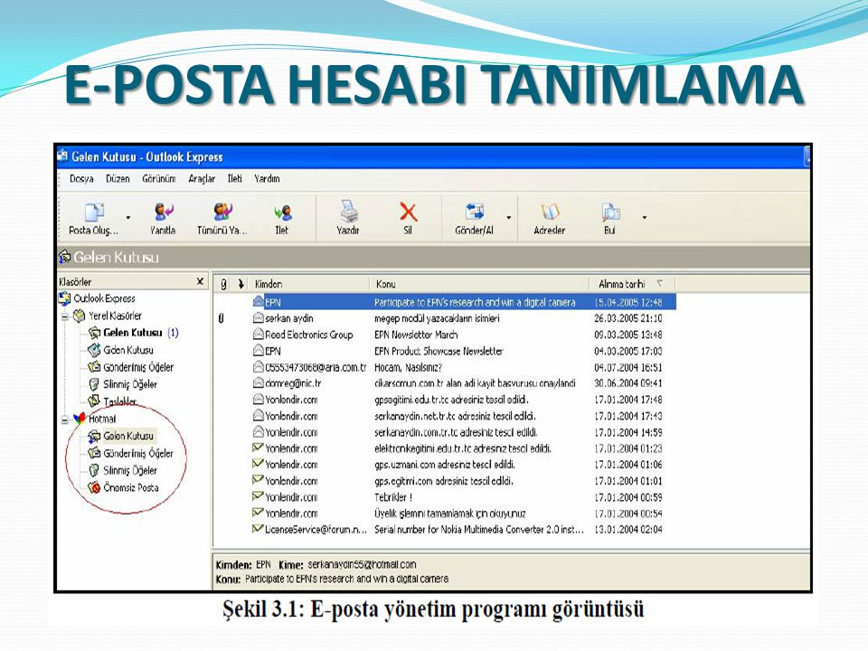E-POSTA HESABI TANIMLAMA