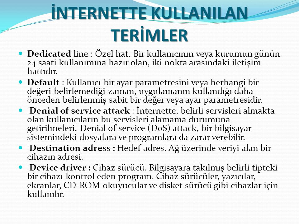 İNTERNETTE KULLANILAN TERİMLER