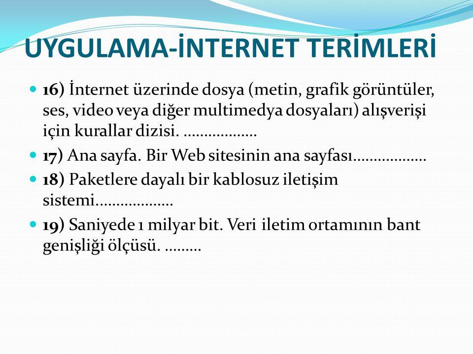 UYGULAMA-İNTERNET TERİMLERİ