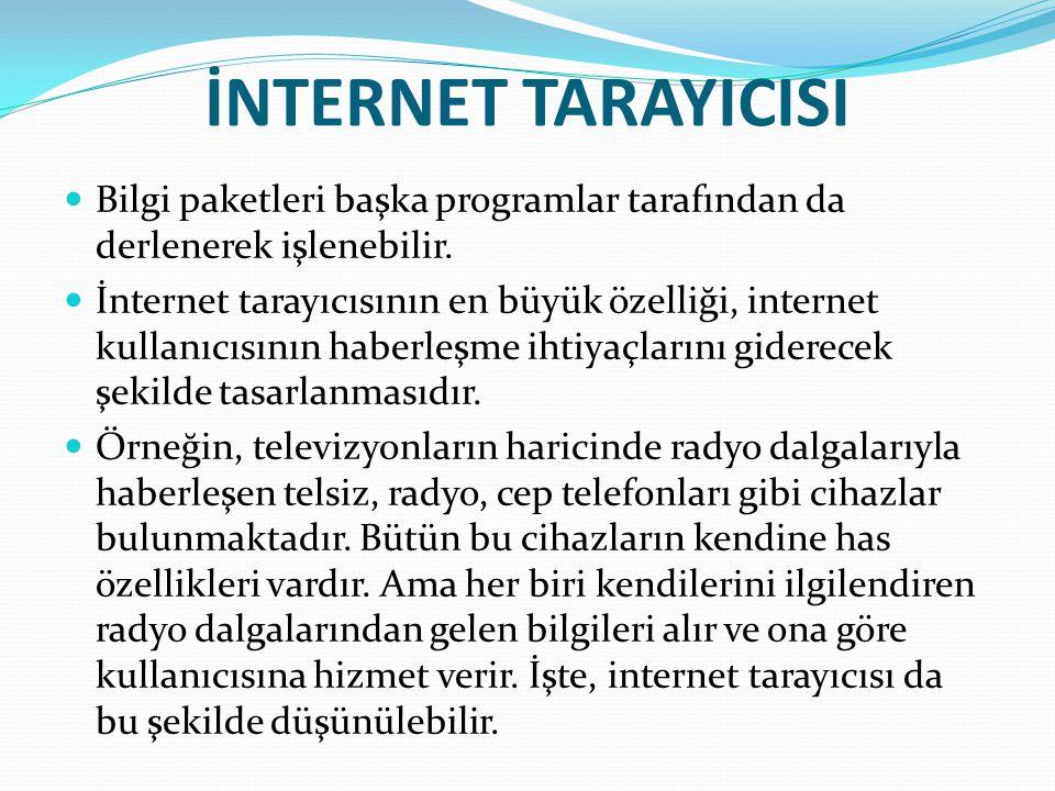 İNTERNET TARAYICISI Bilgi paketleri başka programlar tarafından da derlenerek işlenebilir.