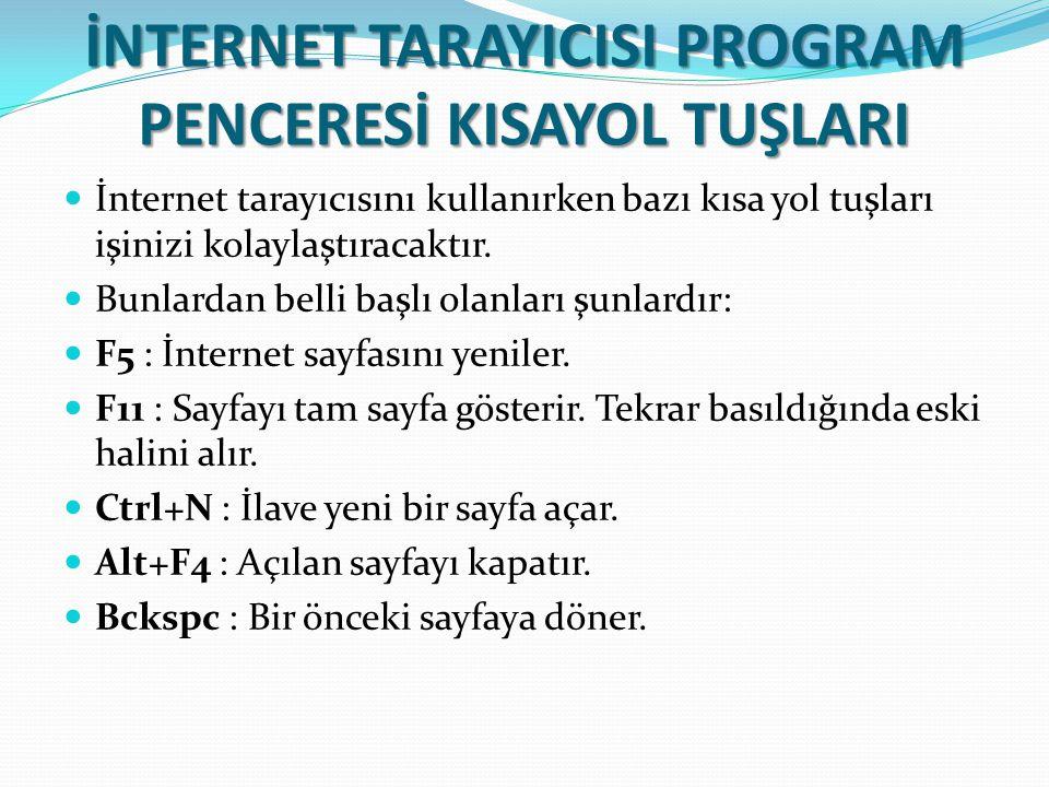 İNTERNET TARAYICISI PROGRAM PENCERESİ KISAYOL TUŞLARI