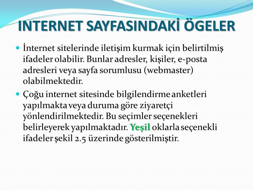 INTERNET SAYFASINDAKİ ÖGELER