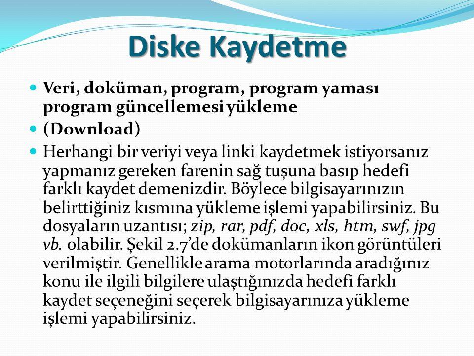 Diske Kaydetme Veri, doküman, program, program yaması program güncellemesi yükleme. (Download)