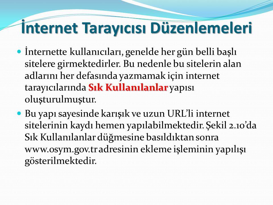 İnternet Tarayıcısı Düzenlemeleri