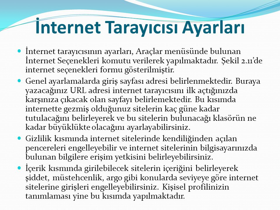 İnternet Tarayıcısı Ayarları