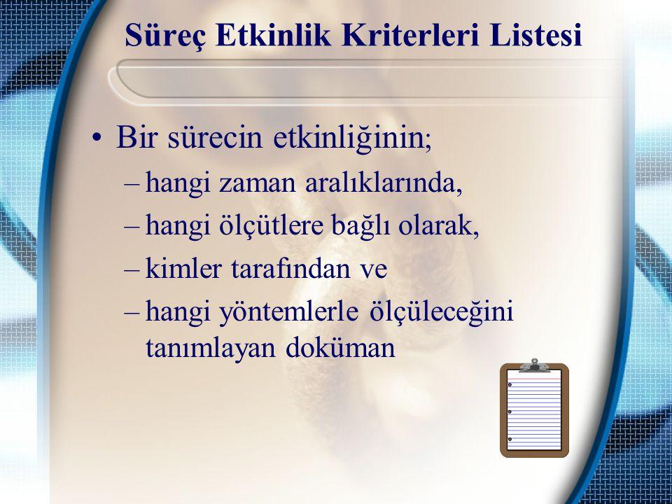 Süreç Etkinlik Kriterleri Listesi