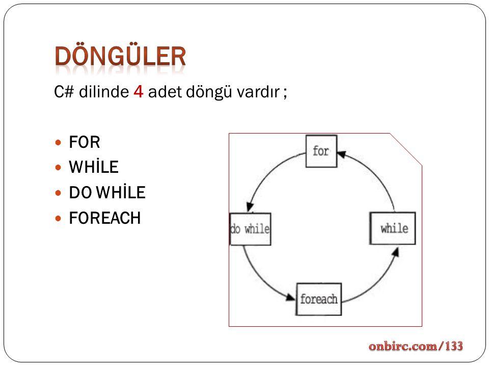 DÖNGÜLER C# dilinde 4 adet döngü vardır ; FOR WHİLE DO WHİLE FOREACH