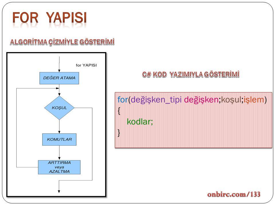 For yapIsI for(değişken_tipi değişken;koşul;işlem) { kodlar; }