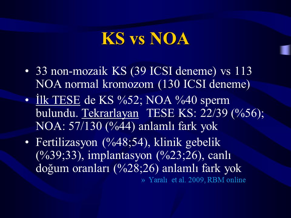 KS vs NOA 33 non-mozaik KS (39 ICSI deneme) vs 113 NOA normal kromozom (130 ICSI deneme)