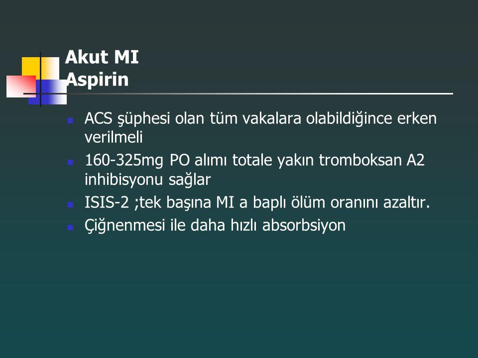 Akut MI Aspirin ACS şüphesi olan tüm vakalara olabildiğince erken verilmeli. 160-325mg PO alımı totale yakın tromboksan A2 inhibisyonu sağlar.