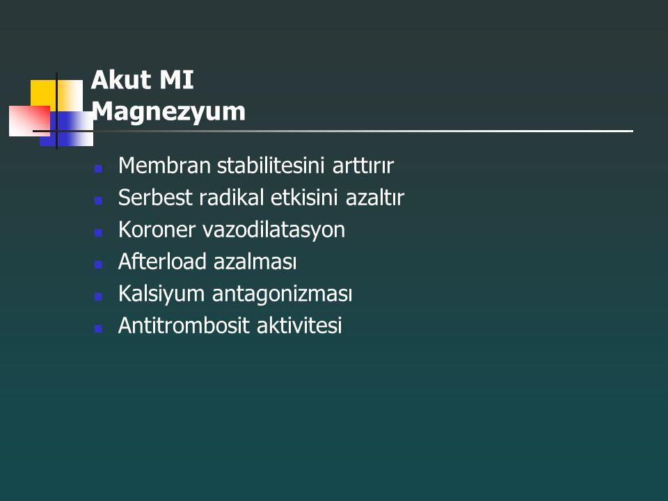 Akut MI Magnezyum Membran stabilitesini arttırır