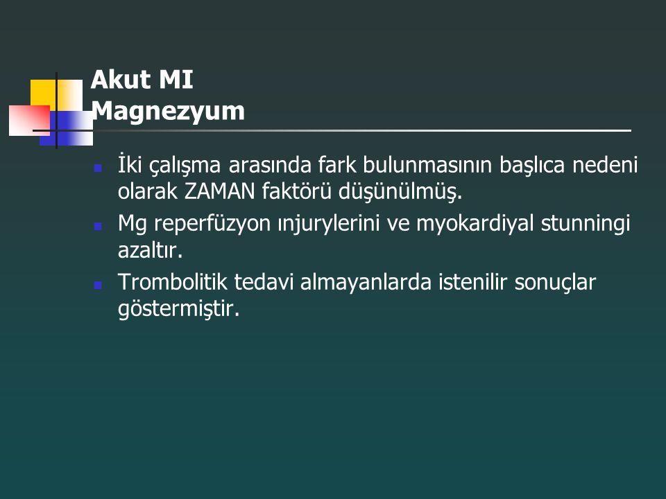 Akut MI Magnezyum İki çalışma arasında fark bulunmasının başlıca nedeni olarak ZAMAN faktörü düşünülmüş.