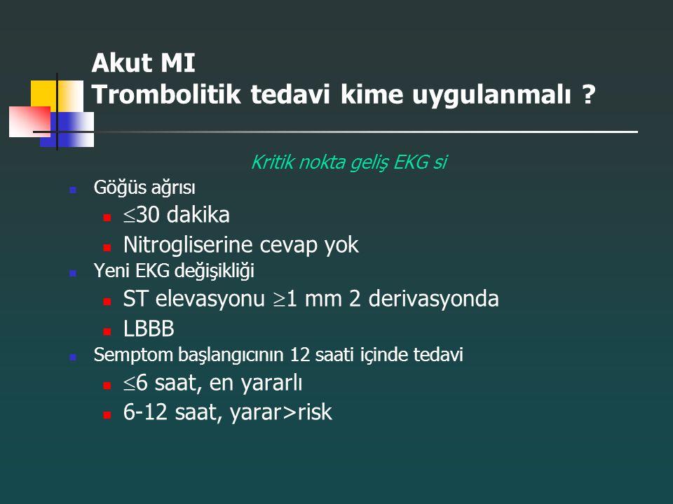 Akut MI Trombolitik tedavi kime uygulanmalı