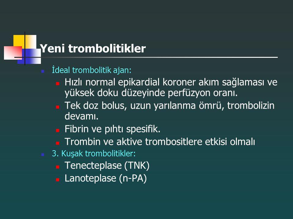 Yeni trombolitikler İdeal trombolitik ajan: Hızlı normal epikardial koroner akım sağlaması ve yüksek doku düzeyinde perfüzyon oranı.