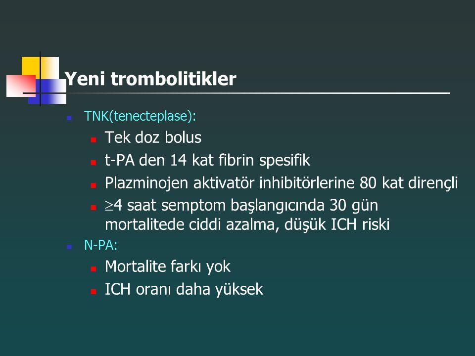 Yeni trombolitikler Tek doz bolus t-PA den 14 kat fibrin spesifik