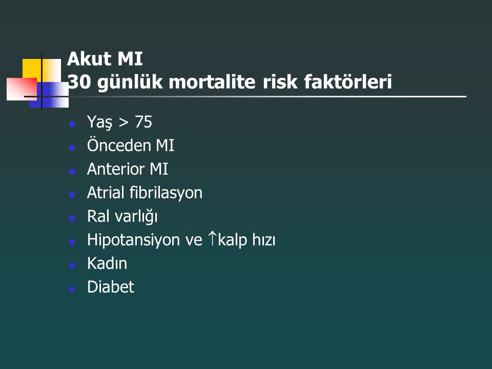 Akut MI 30 günlük mortalite risk faktörleri