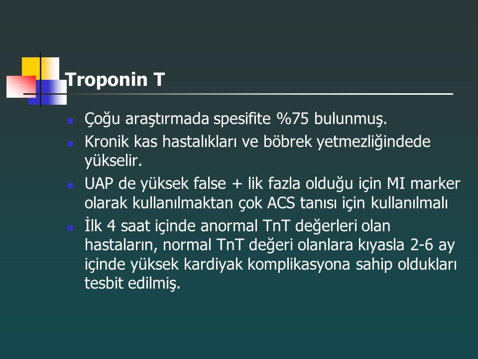 Troponin T Çoğu araştırmada spesifite %75 bulunmuş.