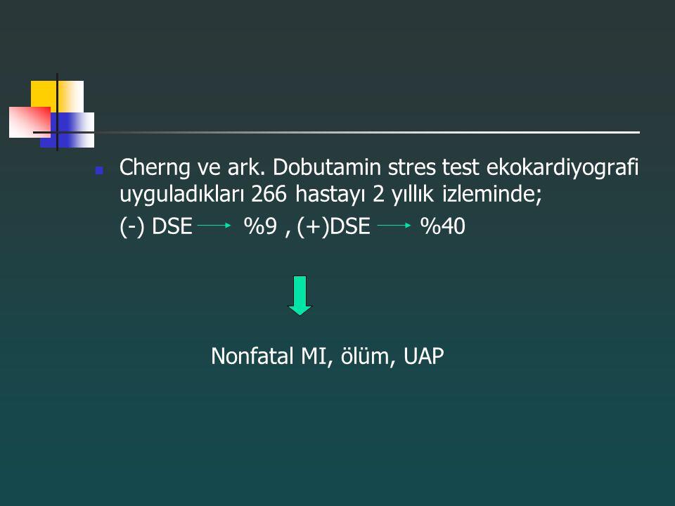 Cherng ve ark. Dobutamin stres test ekokardiyografi uyguladıkları 266 hastayı 2 yıllık izleminde;