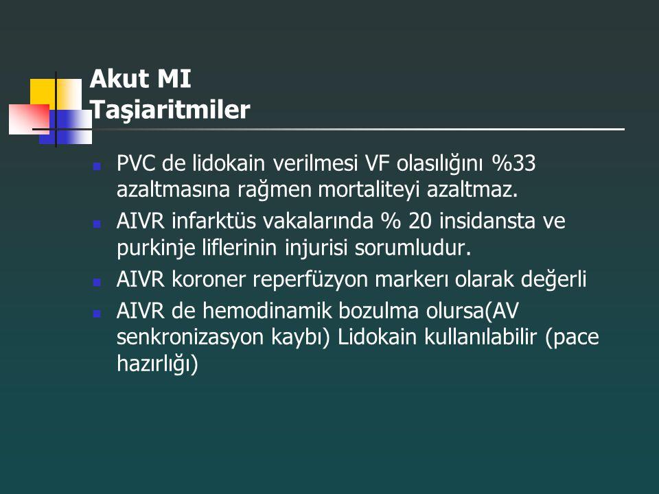 Akut MI Taşiaritmiler PVC de lidokain verilmesi VF olasılığını %33 azaltmasına rağmen mortaliteyi azaltmaz.