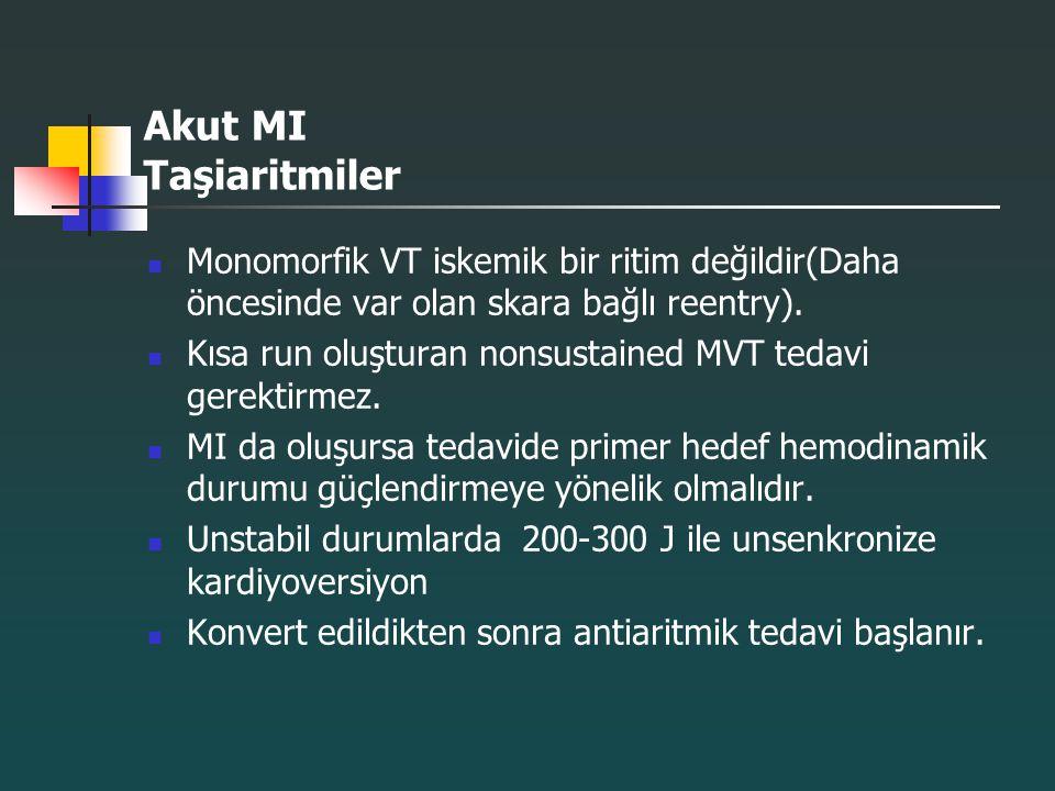 Akut MI Taşiaritmiler Monomorfik VT iskemik bir ritim değildir(Daha öncesinde var olan skara bağlı reentry).