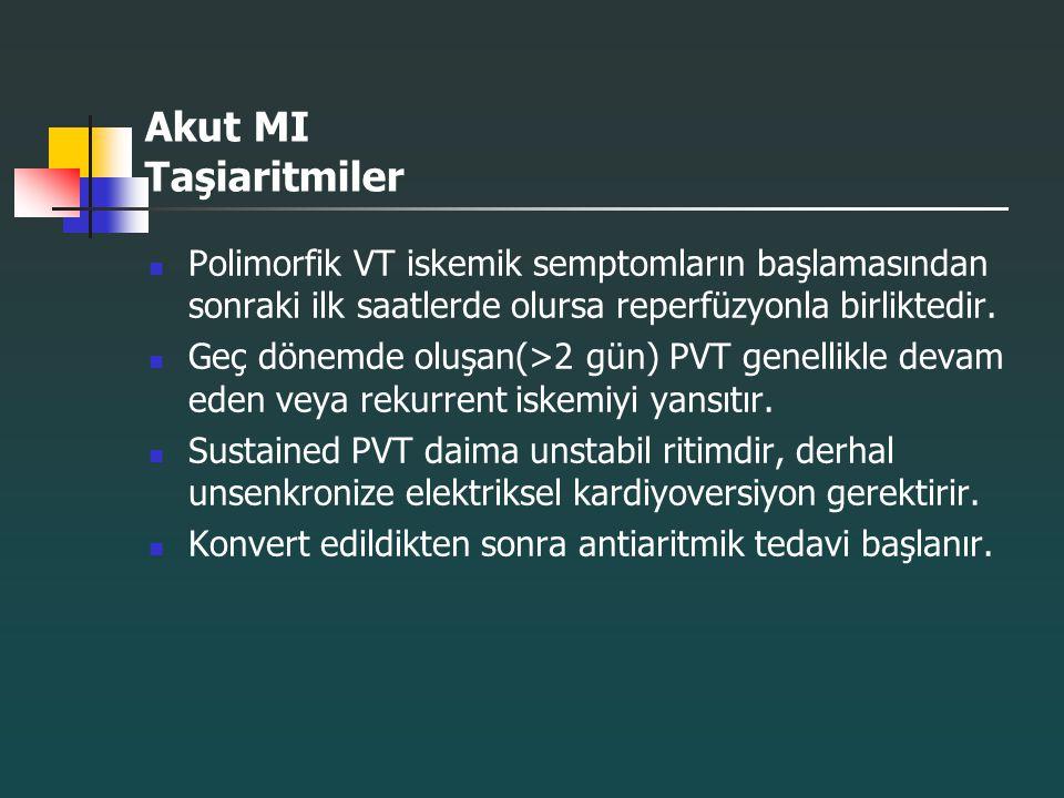 Akut MI Taşiaritmiler Polimorfik VT iskemik semptomların başlamasından sonraki ilk saatlerde olursa reperfüzyonla birliktedir.