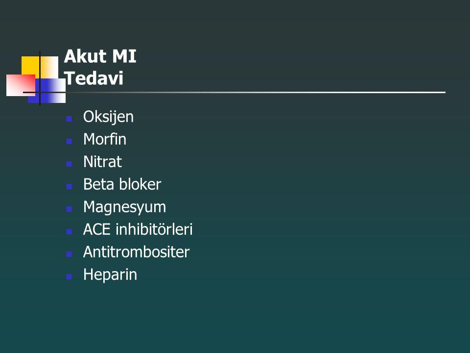 Akut MI Tedavi Oksijen Morfin Nitrat Beta bloker Magnesyum
